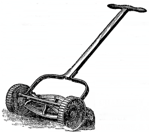 A classic reel lawn mower